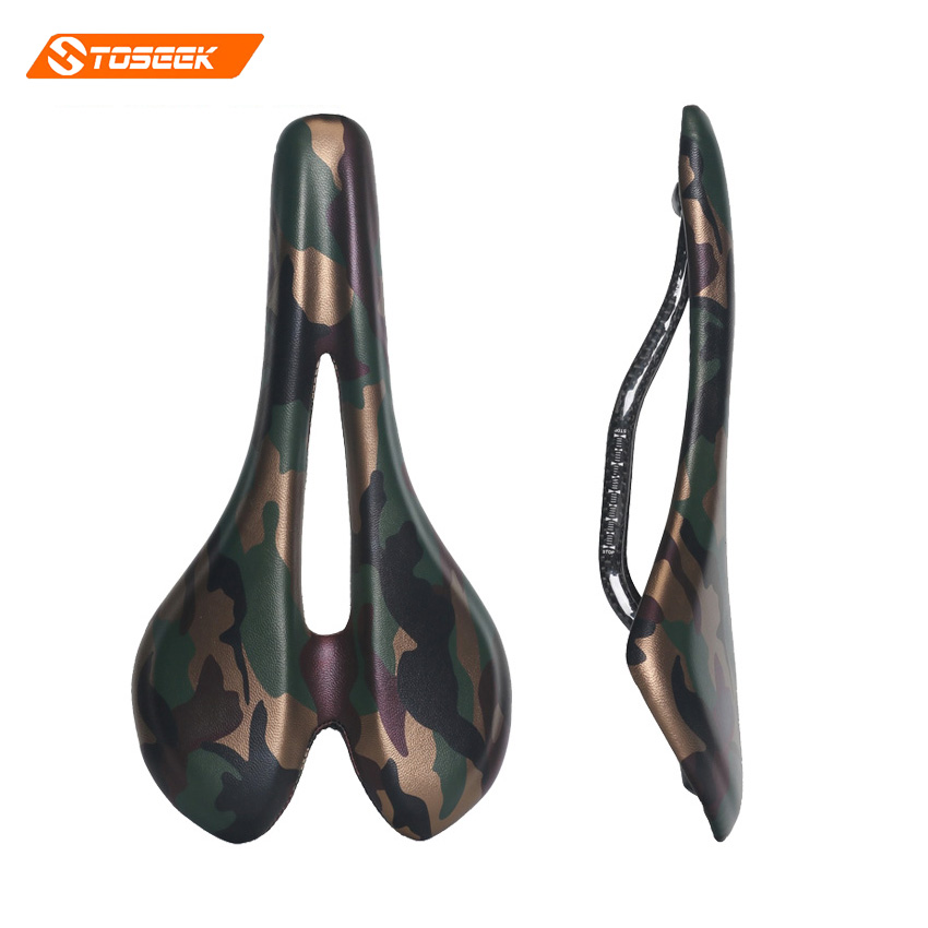 TOSEEK Bicycle Carbon Fiber Saddle Road Bike Lightweight Seat Camouflage green Cushion Bicycle Cycling Parts Bike Hollow Saddle in stock road bicycle saddle seat white blue black orange antares r3 gobi cycling high quality bike parts