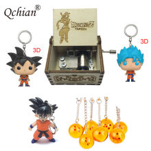 Crystal Seven Star Dragon Ball Pendant Keyring Dragon Ball Garage Kits Figure Keychain Wooden Machinery 18-Tone Music Box(China)