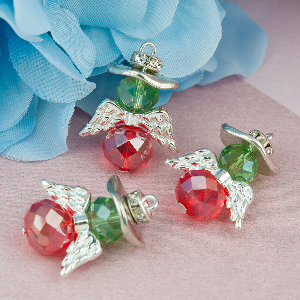 DoreenBeads Zinc Based Alloy & Glass Charms Angel Silver Color Christmas Red & Green Clear Rhinestone Faceted 25x19mm, 10pcs