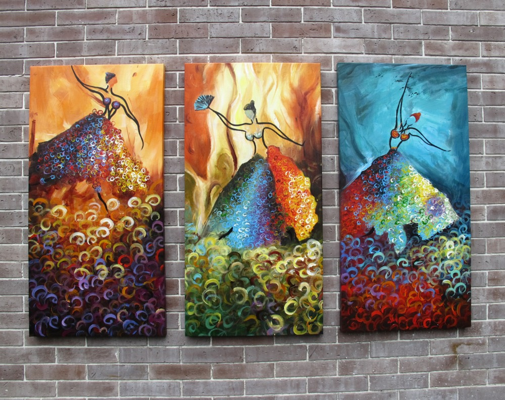 Online shop framed oil painting three picture combination modern online shop framed oil painting three picture combination modern abstract dancer girls oil paintings for wall decoration aliexpress mobile amipublicfo Images