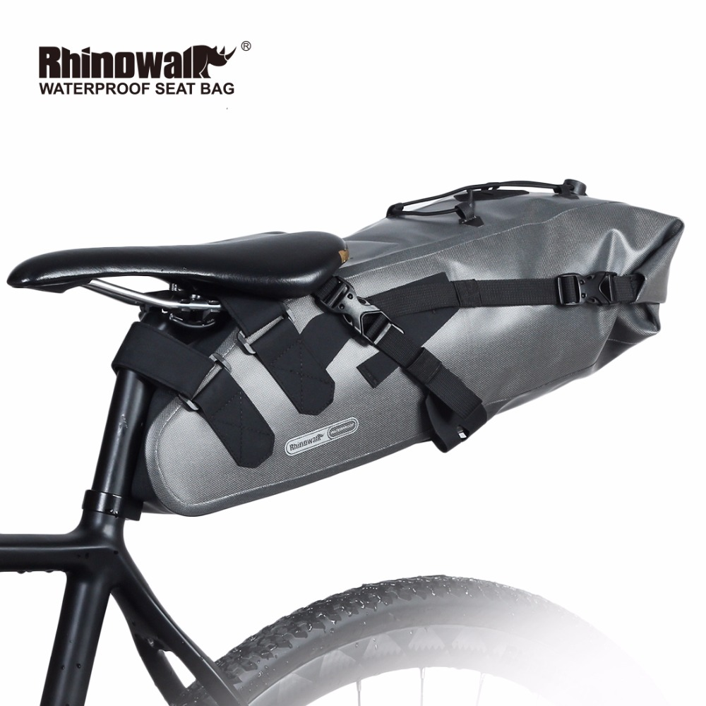 RHINOWALK New Full Waterproof Bike Bag 100% Rainproof  Bicycle Accessories Saddle Bag Cycling Mountain Bike Back Seat Rear Bag roswheel mtb bike bag 10l full waterproof bicycle saddle bag mountain bike rear seat bag cycling tail bag bicycle accessories
