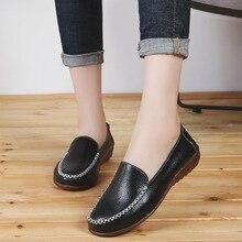 купить Spring Autumn Casual Women's Shoes Genuine Leather Women Flats Moccasins Woman Loafers Female Walking Shoe Soft Ladies Footwear онлайн