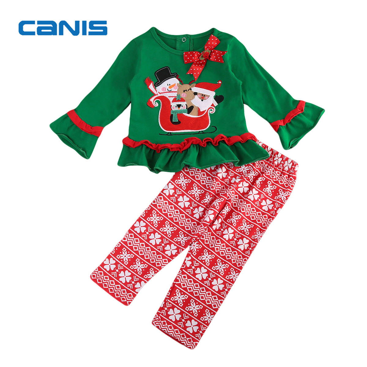 2017 Brand New Cute Toddler Infant Kid Baby Girls Santa Claus Clothes Long Sleeve T-Shirt Top Pants 2Pcs Xmas Sets Outfit 0-5T kid girl lace collar long sleeve pullover cotton base shirt top toddler 2 7y m78 new