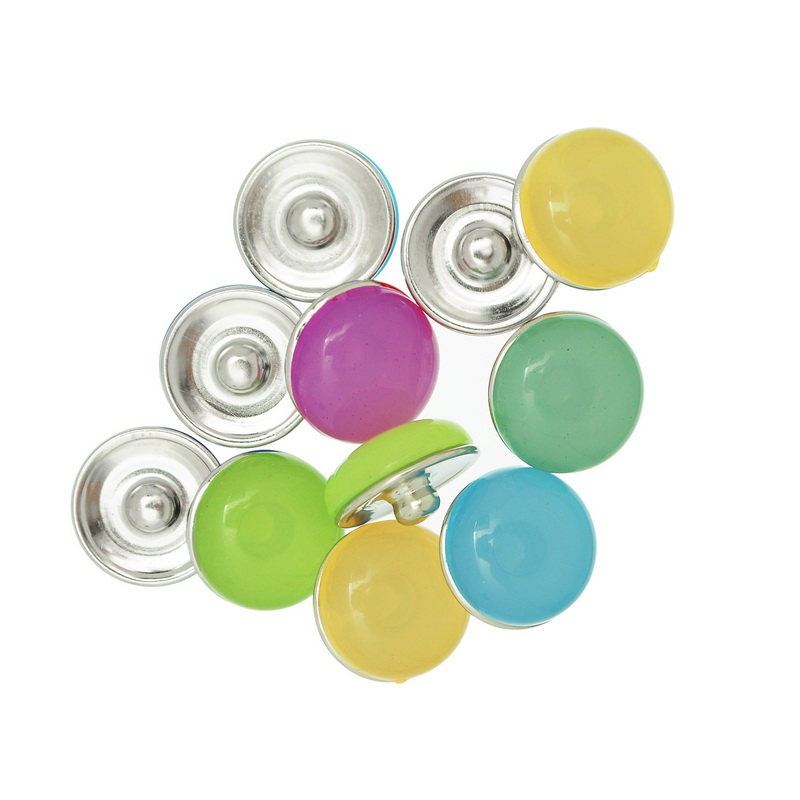 30Pcs Mixed Jelly Colorful Round Click Snap Press Buttons Crafts Making 18mm image