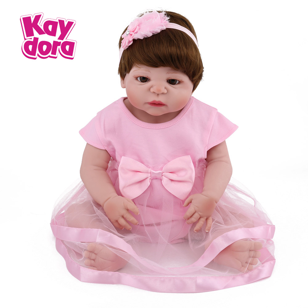 Kaydora 22 Inches Full Silicone Reborn Doll Girl Toys With Lovely Dress Realistic Hair dolls reborn Fashion Gift For Children aisi hair 33 22 inches