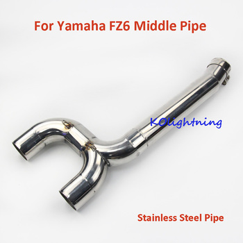 Motorcycle Modified Exhaust Connect Pipe Middle Mid Linking Pipe Slip on Exhaust System For Yamaha FZ6 Moto
