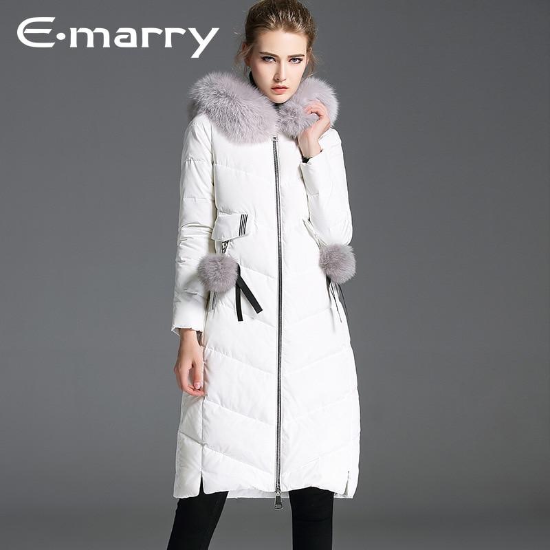 FOX fur Brand 2017 Winter jacket women   down   jackets women's Duck   down   outerwear   coat   long   coats     Downs   sleeve parka overcoats