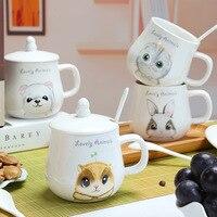 화이트 도자기 물 컵 고양이 곰 토끼 다람쥐 뼈 중국 세라믹 커피 컵 홈 사무실 음료 용기 신중하게 함께 패키