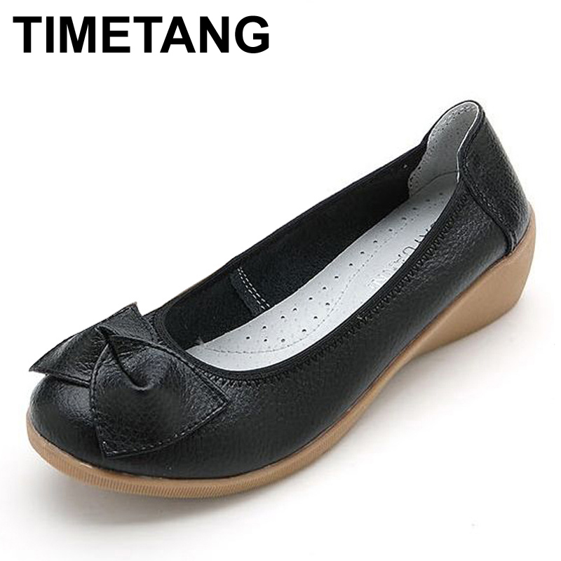 цена TIMETANG New Genuine Leather Women Flats Shoes Slip On Woman Fashion Leather Loafers Brand Designer Bow Zapatos Mujer Flat Shoes онлайн в 2017 году