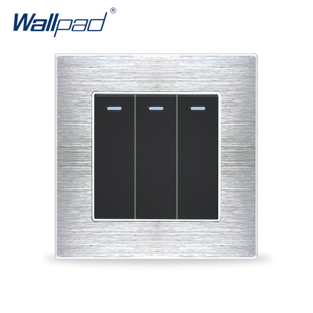 New Arrival 3 Gang 1 Way Switches Wallpad Luxury Wall Light Switch Satin Metal Panel Rocker Switches Interrupteur