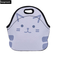 Free Shipping Cute Cat Design 3D CoffeeThermal Insulated Neoprene Lunch Bag Women Kids Lunchbags Cooler Lunch