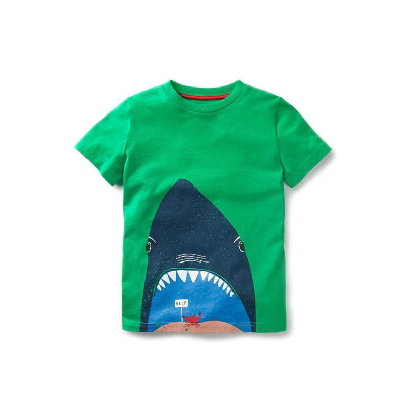 코튼 반팔 티셔츠 소년 티셔츠 상어 문어 캡틴 해적 키즈 탑스 베이비 보이 스웻 셔츠 아동 여름 의류