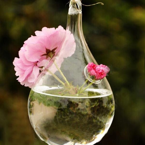 Clear Glass Hanging Vase Bottle Terrarium Hydroponic Container Pot