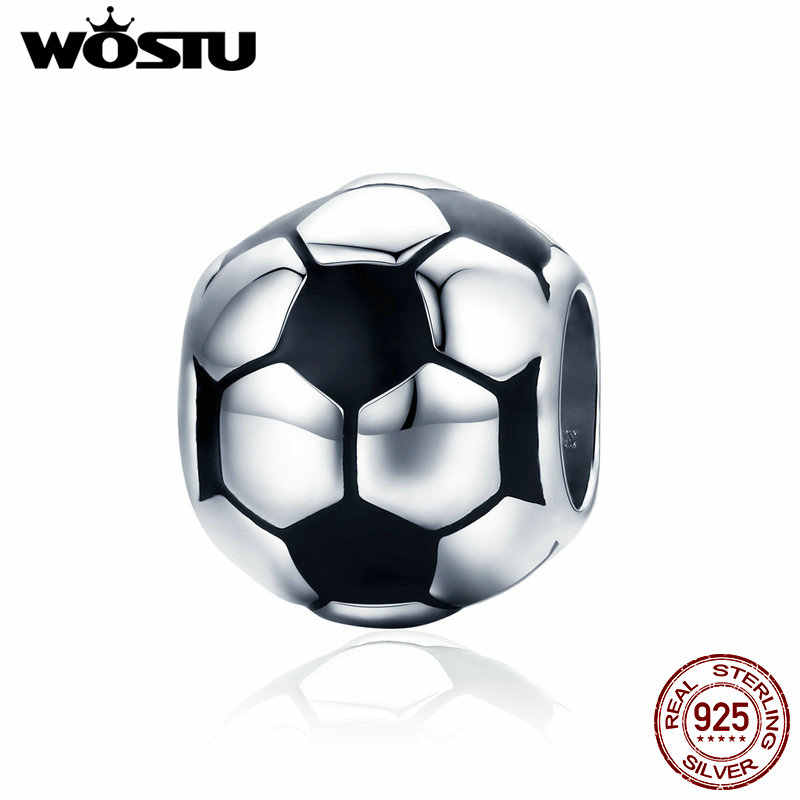 WOSTU New Trendy 925 Sterling Silver I Love Football, nero di Fascino Dello Smalto misura Branelli Del Braccialetto Della Collana FAI DA TE Monili Che Fanno CQC666