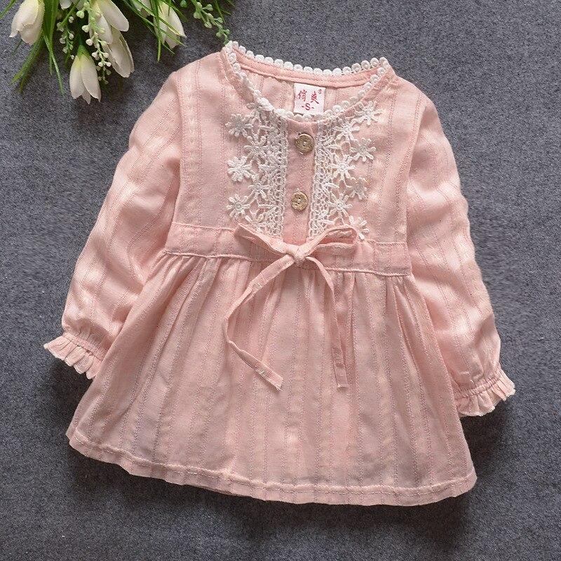 2016 primavera estate nuovo carrello del bambino ragazze abito manica lunga Bambino ragazza principessa dress kid partito dei vestiti del bambino del vestito solido 809