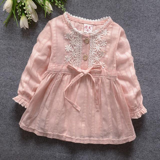 2016 primavera verano nueva cesta bebé niñas vestido largo de la manga del bebé vestido de la princesa del partido del cabrito ropa de bebé vestido sólido 809