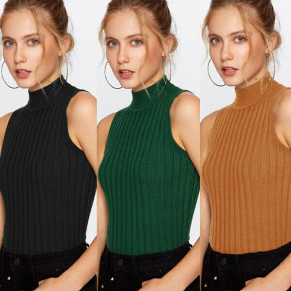 2019 New High Quality Summer Autumn Women Mock Neck Top Turtleneck Sleeveless T-shirt Slim Knitted Vest Female Tee Knitwear