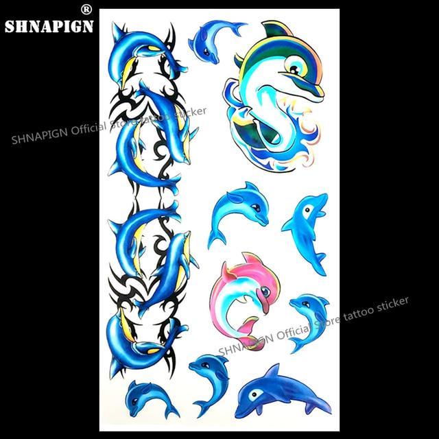 SHNAPIGN Blue Dolphin Child Temporary Body Art Flash Tattoo Sticker 10x17cm Waterproof Painless Henna Selfie Tatoo Stickers
