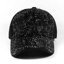 fa3c7e8dad2 Beautiful Shiny Crystal Beads Baseball Caps Black Color Rhinestone Blings  Heavy Metals Hip Hop Music Fans Hats Casquette Caps