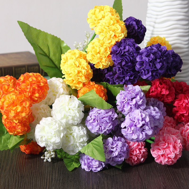 8 Heads/Bouquet Artificial Chrysanthemum Daisy Silk Flower Colorful Fake  Flowers Leaves Home Garden Party