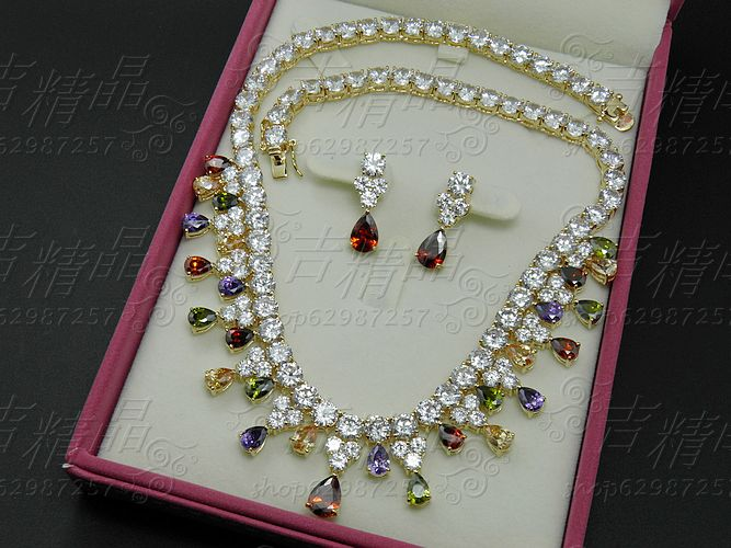 2018 NEW FASHION Luxury jewelry multicolour zircon necklace earring sets wedding bride dress banquet dinner party jewelry set irl520a to 220