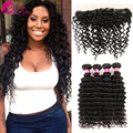 Brazilian Deep Wave With Frontal Closure 13x4 Ear To Ear Lace Frontal Closure With Bundles Curly Hair Weave Virgin Hair