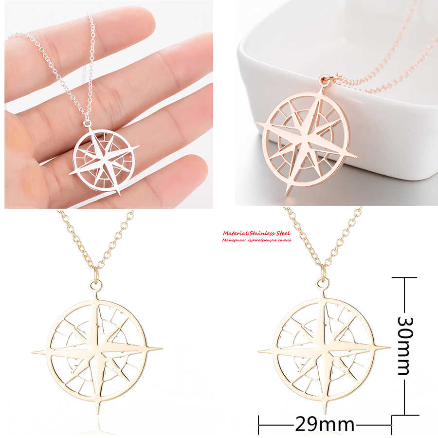 Compass Pendant Necklaces Women Stainless Steel Necklace 2018 Fashion Jewelry Long Chain Necklaces Chokers Christmas Gifts