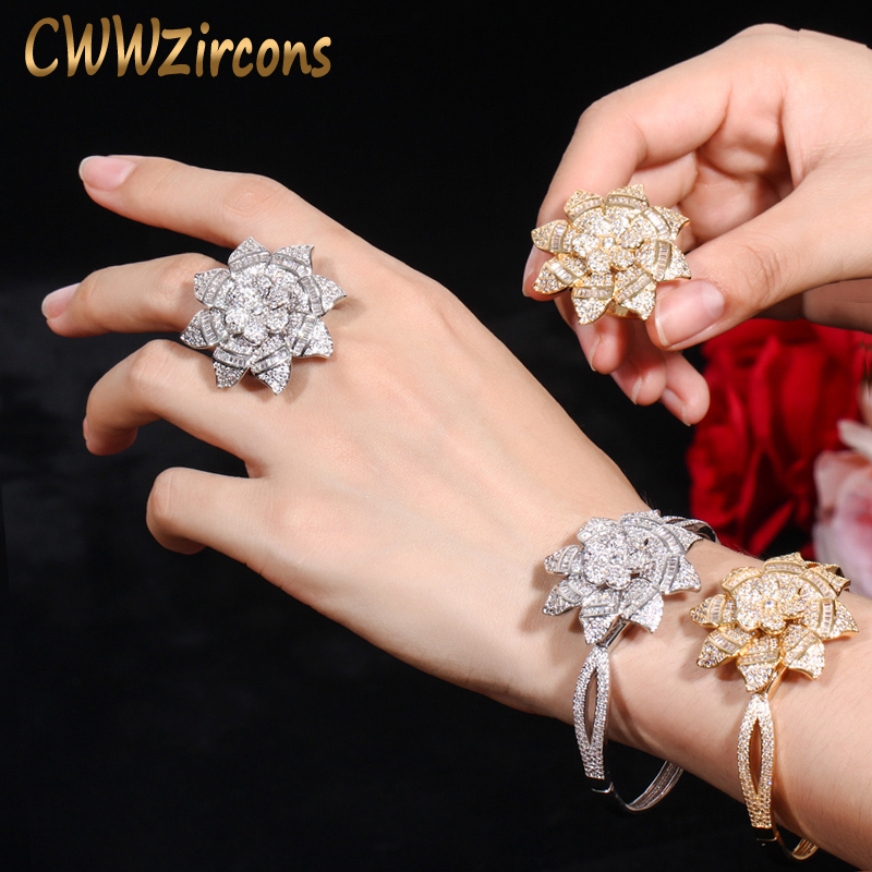 CWWZircons Sparkling Sun Flower Silver Yellow Gold Color Luxury Dubai Wedding Party Big CZ Bangle and Rings Jewelry Set T325CWWZircons Sparkling Sun Flower Silver Yellow Gold Color Luxury Dubai Wedding Party Big CZ Bangle and Rings Jewelry Set T325