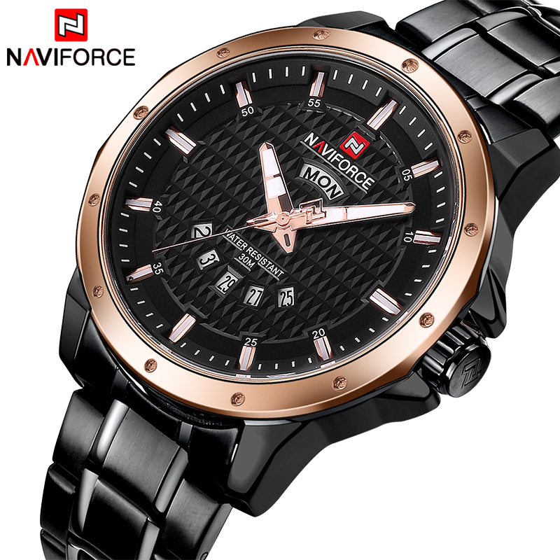 NAVIFORCE NEW Fashion Luxury Brand Men Black Gold Watches Men's Quartz Clock Man Full Steel Sports Wrist Watch Relogio Masculino luxury brand naviforce men stainless steel gold watch men s quartz clock man sports waterproof wrist watches relogio masculino