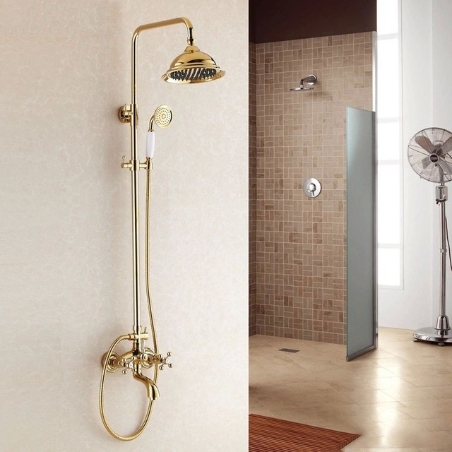 Free Shipping Becola Luxury Gold Brass Shower Set Dual Handle Shower Faucet  Kit Tub Mixer Hand
