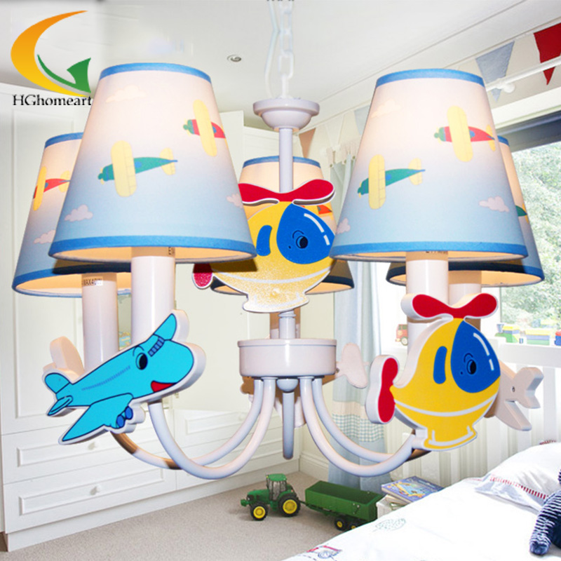 Children bedroom chandelier cute cartoon boy study chandeliers with idyllic blue airplan led lamp led chandeliers creative cartoon aircraft led lamp children boy bedroom lamp study chandelier lighting