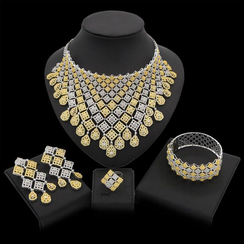 Yulaili 2019 nouvelle mode carré cristal collier Bracelet boucles d'oreilles anneau nigérian africain Zircon mariage ensembles de bijoux