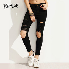 902bcf64633 ROMWE Distressed Skinny Ankle Ripped Pocket Jeans Women Black Button Fly  Zipper Fly Casual Spring Summer