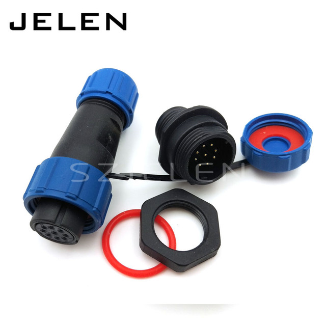 SP13, 2pin 3pin 4 pin 5 pin 6 pin 7pin 9pin waterproof  onnector plug(female) and socket(Male), LED Power wire connector IP68
