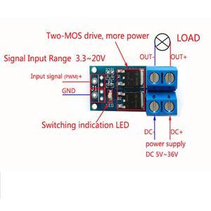 15A 400W MOS FET Trigger Schalter Stick Modul DC 5 V-36 V PWM Regler Control Panel Motor control board