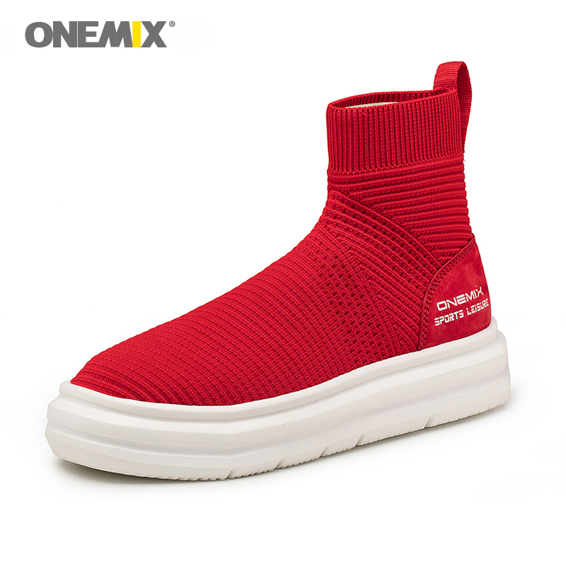 Onemix di lavoro a maglia calzino della caviglia stivali di alta altezza crescente di vita scarpe da passeggio per le donne scarpe da ginnastica femminile tenere in caldo slip on - 4