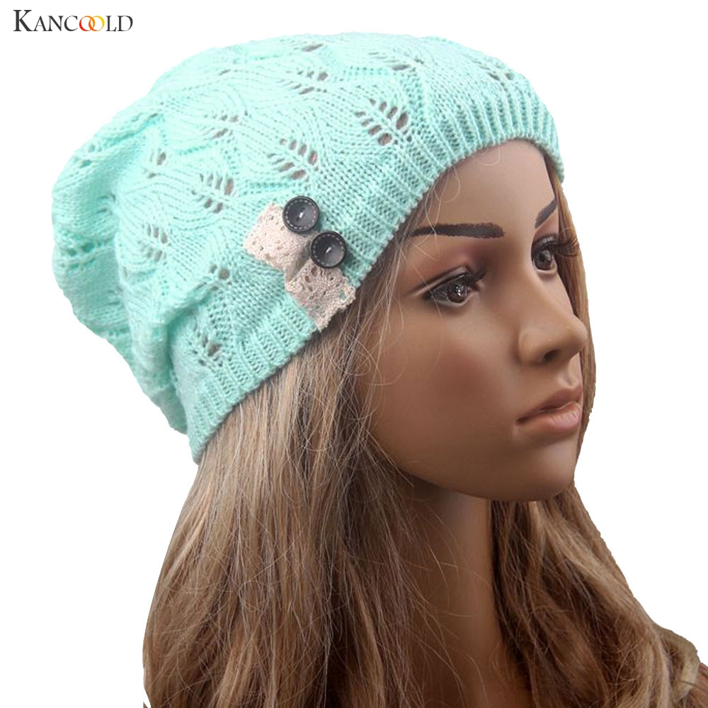 Fashion Leaves Hollow Out Lace Button Knitting Hat Women Winter Warm Thin Slouchy Beanies Knitted Cap Lady Girls Skullies Sept30