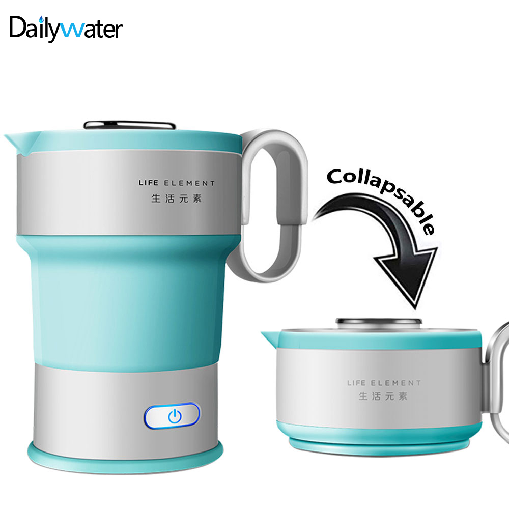 220V Portable Electric Kettle Folding Silicone Collapsible Travel Camping Water Boiler Home Automatic Power Off Kettle With Cup