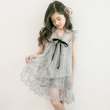 summer kids dresses for girls 4 6 8 10 12 14 Yrs Lace tulle embroidery Dress teen party frocks child Princess Wedding vestidos все цены