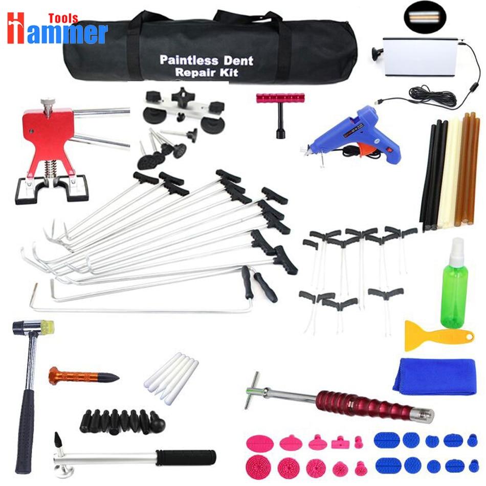PDR Rods Hook Tools Paintless Dent Repair Car Dent Repair Dent Removal led lamp Dent Puller Lifter Glue Gun Tap Down Tool цены