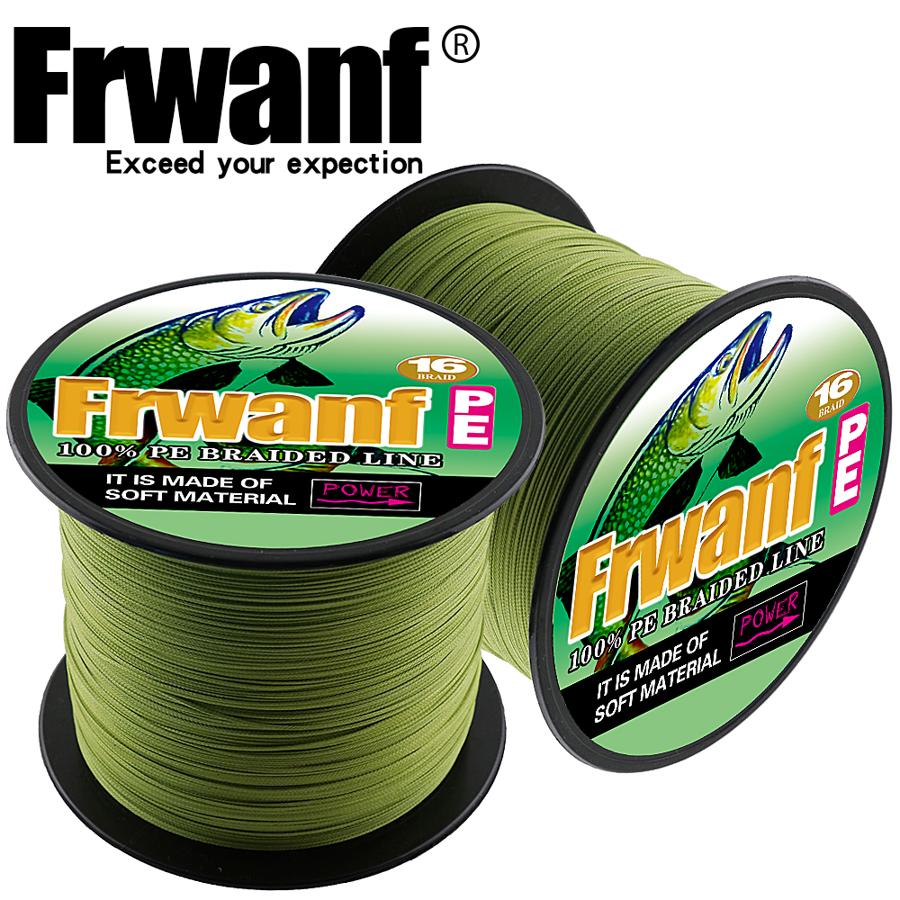 Frwanf 16 Strands super pe hollowcore braided line fishing 300M 328yards ice saltwater fishing wires 15 500LBS test sea smooth-in Fishing Lines from Sports & Entertainment    1