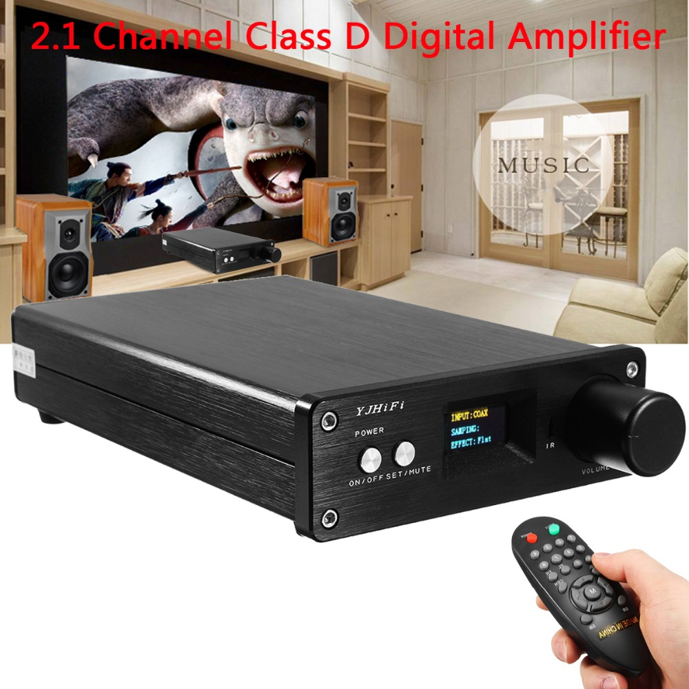 2.1 Channel OLED Digital Stereo Home Audio Power Amplifier MINI Class D 50W+50W HIFI Amplifier USB Optical Fiber Coaxial Input 2018 tda7492 bluetooth amplifier fiber optic coaxial usb dac decoding amplifier 50w 50w hifi amplifier