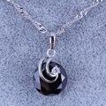 Простой и Элегантный Черный имитация Оникс Кубический Цирконий Серебряный Позолоченный Ожерелье Подвески X0260