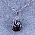 Simple and Elegant Black imitation Onyx Cubic Zirconia Silver Plated Necklace Pendants X0260
