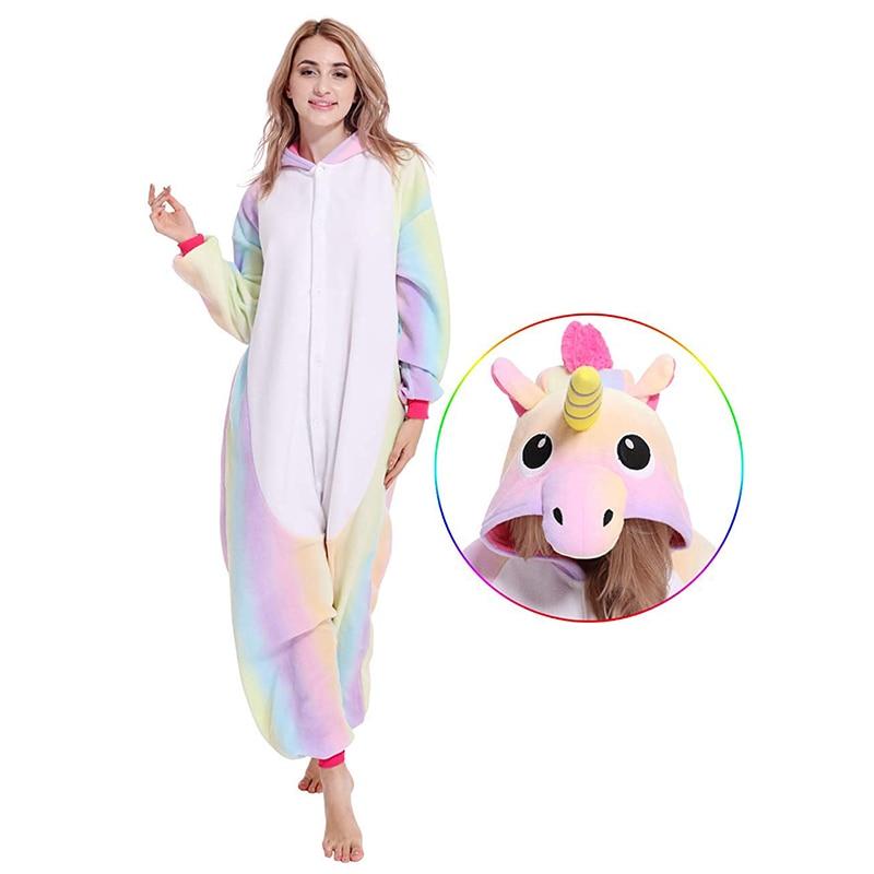 Winter Flannel Cartoon Sleepwear Unicorn   Pajamas   Kigurumi Unicornio Adults Animal   Pajamas     Sets   Women Men Hooded   Pajama   wholesale
