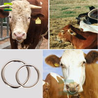 10 pcs Carbon steel livestock Cattle Bull Large Number of Ox Nose Ring Cattle Baoding Machine Cow Nose Clip Cow Nose Ring