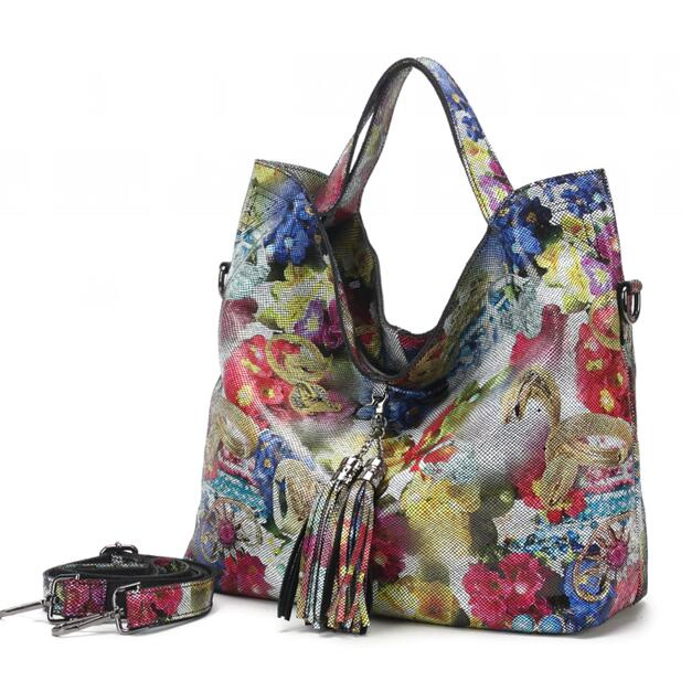 Female Real Leather Shiny Flower Summer Women Tote Handbags New Lily Floral Lady Embossed Genuine Leather Bags GL16