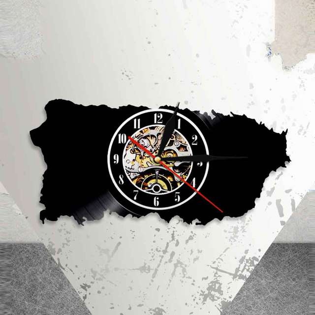 Online Shop Puerto Rico Map Wall Art Patriotic Home Decor Clock United States Of America Vinyl Record USA PR Travel Gift