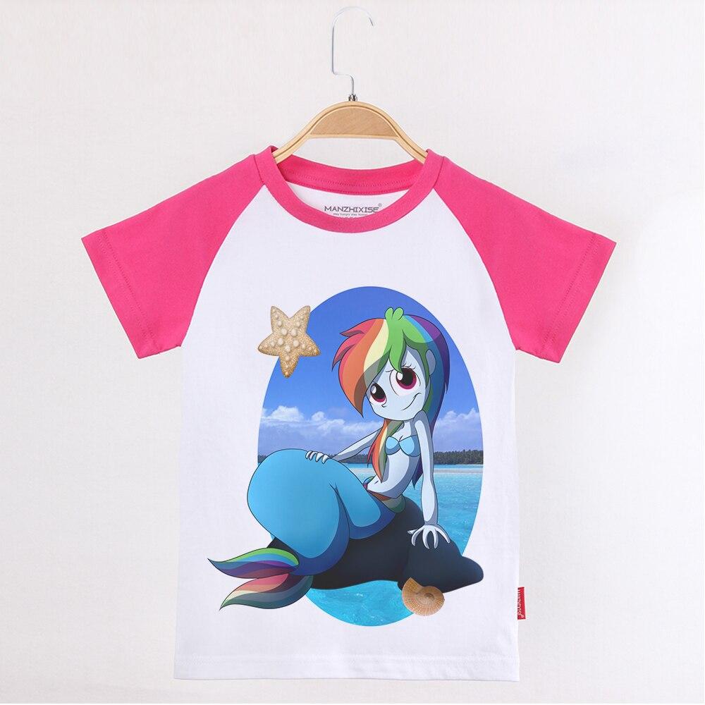 Verão 2019 Roupas Infantis Pônei T-shirt Da Sereia Para Meninas Adolescentes 100 Algodão Raglan Criança Manga Curta Tops Da Menina da Roupa Do Bebê