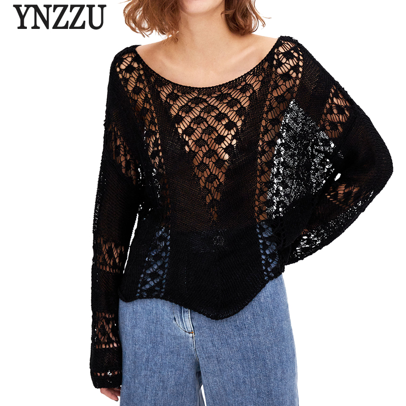 bb3ccc5d2547 YNZZU 2018 Spring Knitted Tops Women Hollow Out Sexy White Black Pullover  Sweaters Long Sleeve Jumper